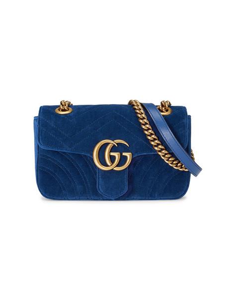 gucci mini women bag mini bag blue silk velvet