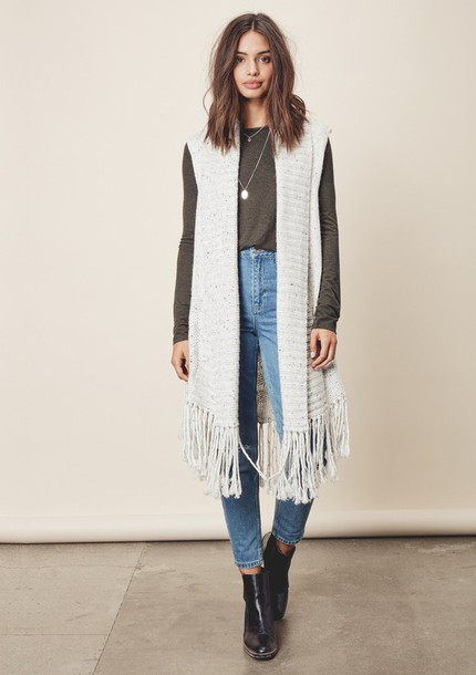 69fe26def72f2 cardigan vest fringes knitwear knit long duster boho bohemian lovestitch  neutral fall outfits cozy layers sleeveless