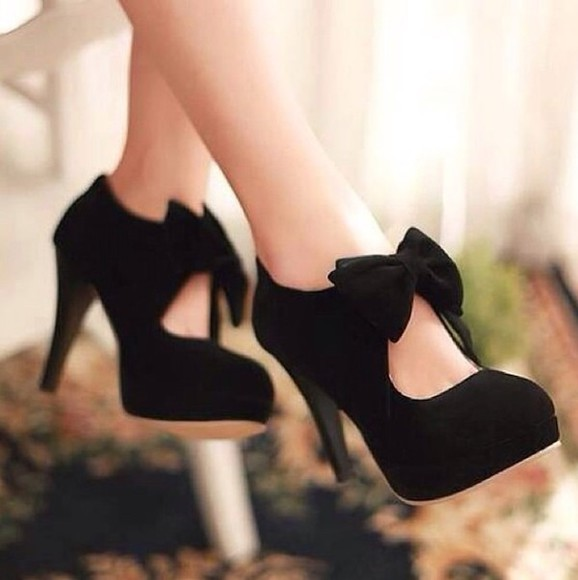 shoes black  high heels bows cute high heels black
