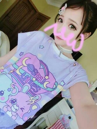 shirt pastel kawaii purple heart animals cosmic cuties bunny pink pastel pink blue