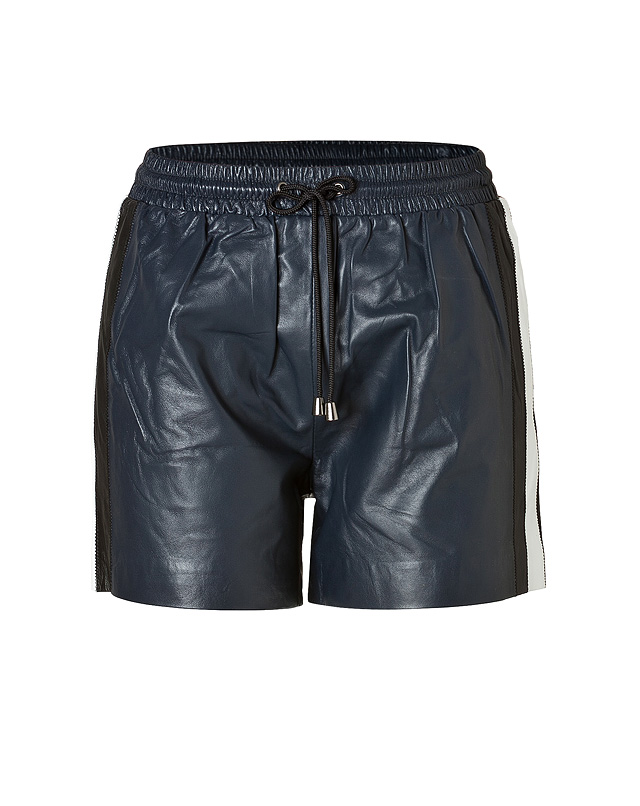 Leather Side Stripe Shorts in Navy from JONATHAN SIMKHAI | Luxury fashion online | STYLEBOP.com
