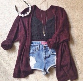 tank top lace flower crown sweater knitted sweater cardigan necklace burgundy maroon shorts distressed hippie hipster indie boho bohomian tumblr weheartit summer outfit jewels hat