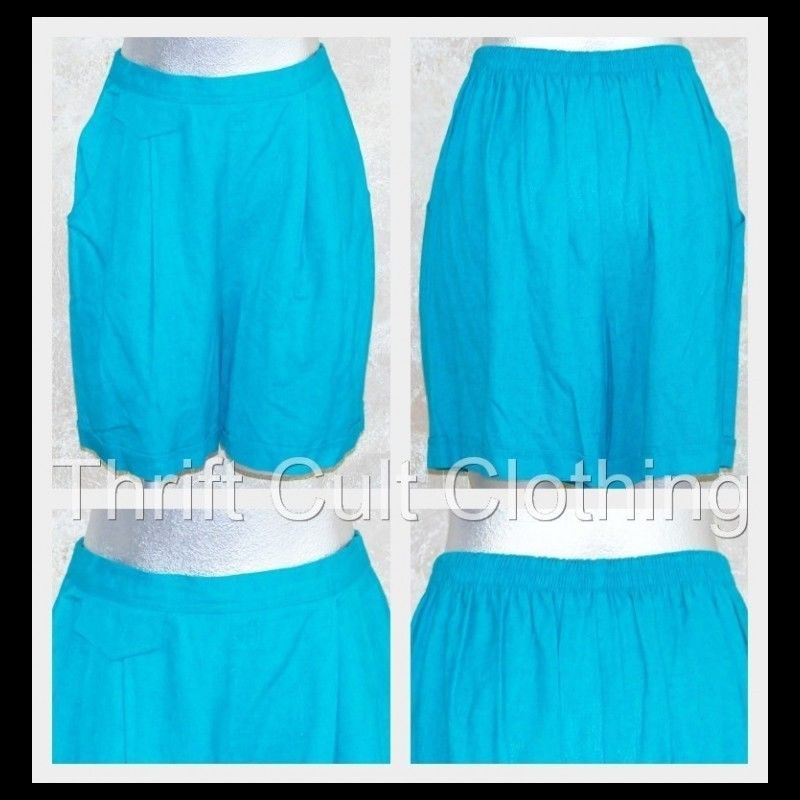 Carole Little Teal Pleated Shorts High Waist Linen Rayon Casual Preppy 80s Style | eBay