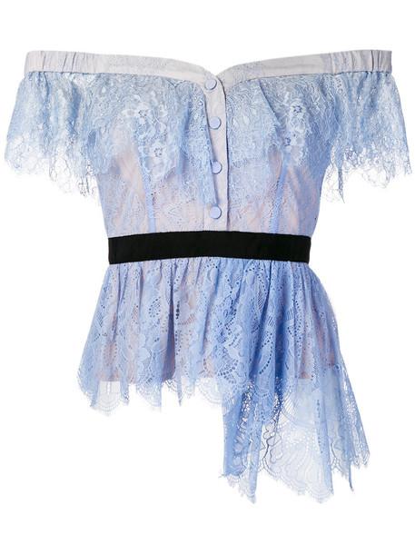 top lace top women lace cotton blue