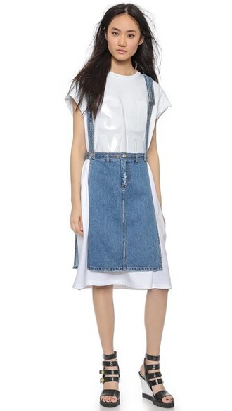 skirt denim open light blue light blue