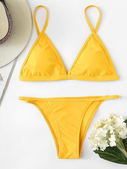 Triangle Top With String Bikini Set