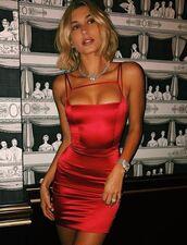 dress,red,red dress,instagram,bodycon dress,hailey baldwin,model off-duty,sexy dress