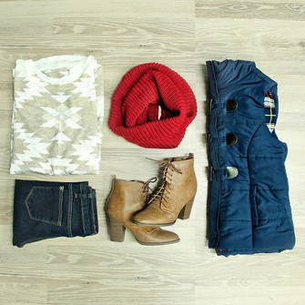 jeans red scarf top aztec uoi boutique vest puffer vest scarf red