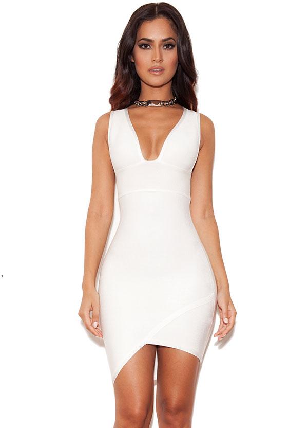 Clothing : Bandage Dresses : 'Sacha' White Bandage Deep V Dress