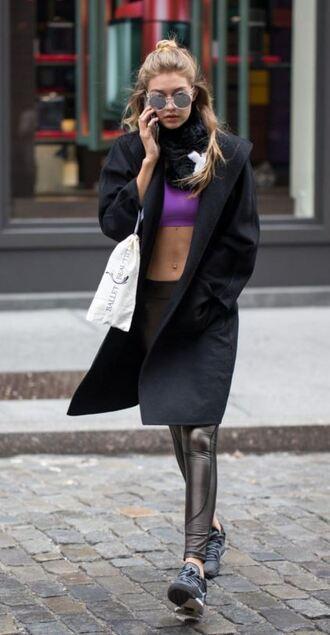 leggings gigi hadid top crop tops sports bra sunglasses coat