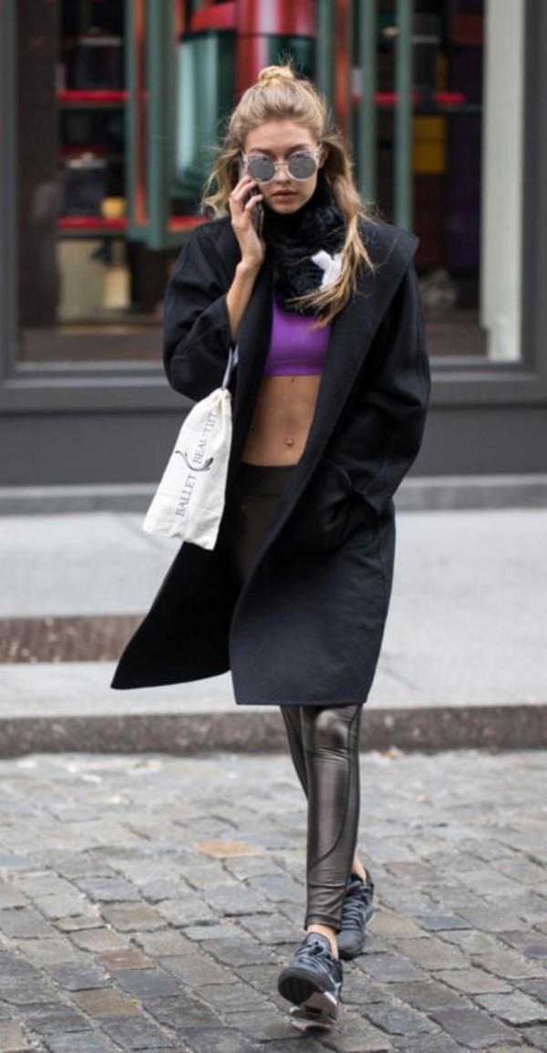 8493d66bc4d leggings gigi hadid top crop tops sports bra sunglasses coat.