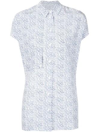 shirt women floral blue silk top