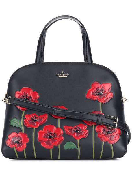 Kate Spade women floral leather black bag