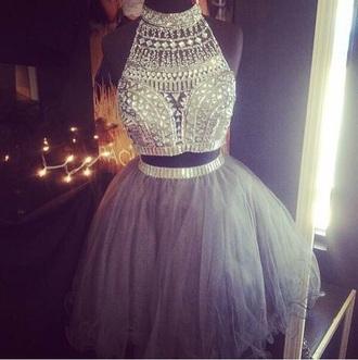 dress sparkle prom sleeveless dress two piece dress set