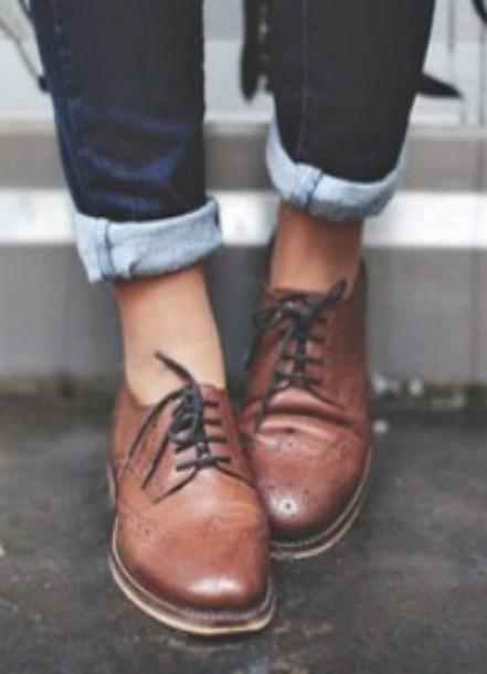 Brown Boyfriend Wingtip Oxford Flat Womens Shoes