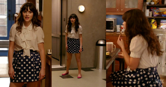 new girl zooey deschanel shirt pink cute polka dots polka dot skirt flats cute dress vintage innocent