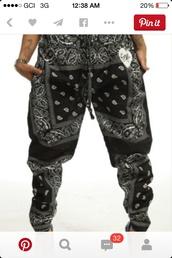 leggings,bandana print joggers