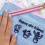 home accessory,style,fashion,plants,hipster,cactus,pencils,mermaid,pencil case,nail polish,pastel pink,pastel,back to school,stationary,bag,grunge,grunge wishlist,cute,kawaii,kawaii accessory,instagram,tumblr,blue,denim