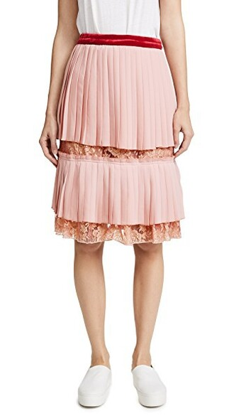 skirt lace skirt pleated lace rose