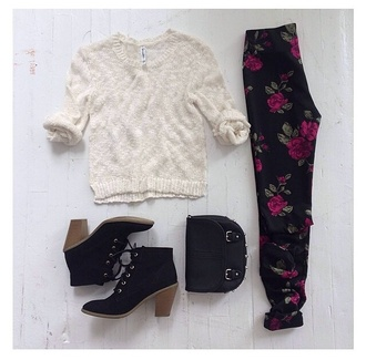 bag hippie white shoes sweater floral high heels floppy hat back to school
