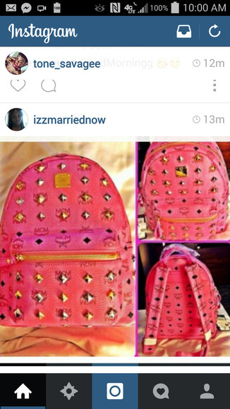 studs bag pinkbag bookbags