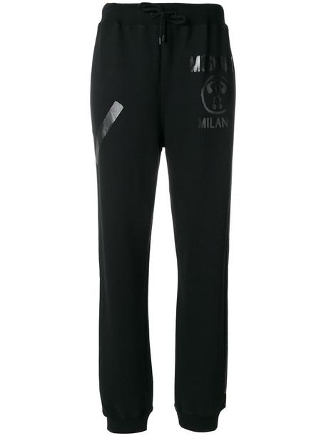 Moschino - vinyl logo track trousers - women - Cotton - 40, Black, Cotton