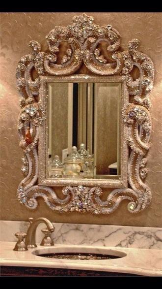 home accessory gold glitter mirror