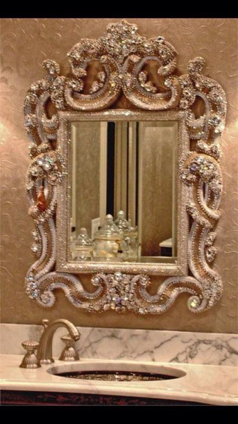 home accessory gold glitter mirror