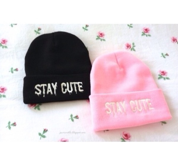 hat beanie solid pink stay cute grunge pastel pastel grunge beanie cute stay black white pink floral winter outfits cold swag white writing solid black soft grunge style selfie ineedthese lovely