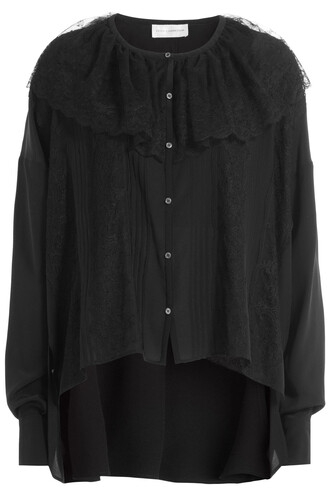 blouse cape lace silk black top
