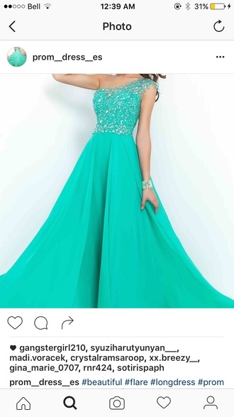 dress teal long dress prom dress one shoulder gown