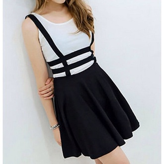 skirt black skirt cute skirt with suspenders