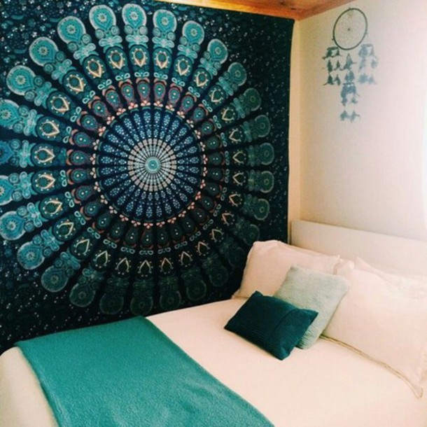 Home accessory blue mandala art wall decor room