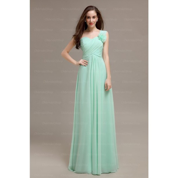 dress mint one shoulder bridesmaid long