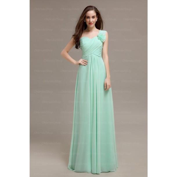 dress mint one shoulder bridesmaid long