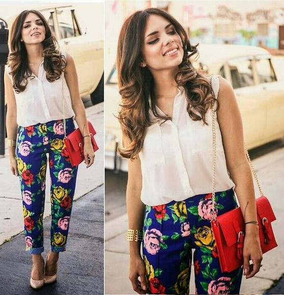 bag accessory summer blouse jewelry fashion pants outfit floral floral pants looks trouser handbag cuff