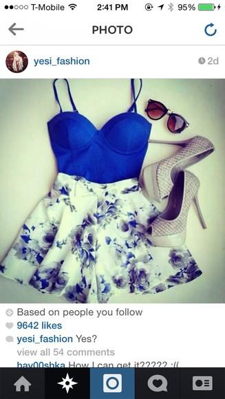 shorts floral shorts blue shorts floral flowy bustier crop top