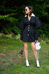 dress,blazer dress,button up,sunglasses,mini dress,bag,socks and sandals,black and white