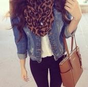 bag,coach bag,jacket,shirt,scarf,denim jacket,leopard print,blue,black,outfit,summer listen