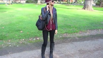 sweater chic look leggings boots black casual thin leather jacket burgundy hoodie slouchy sweater