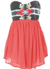 dress,tribal pattern,short dress,pink,aztec,beaded,flowy