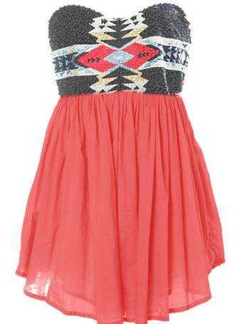 dress tribal pattern short dress pink aztec beaded flowy