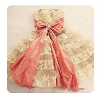 dress pink dress lace dress pink ribbon ribbon