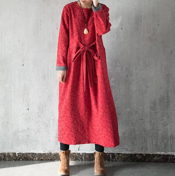 dress long sleeves burgundy dress