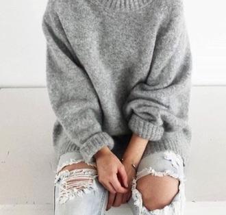 sweater grey sweater grey knitwear oversized boyfriend jeans ripped jeans heavy knit jumper sweater weather winter sweater oversized sweater light blue boyfriend jeans light blue jeans