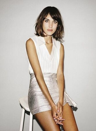 skirt alexa chung metallic skirt silver skirt silver white shirt white top mini skirt date outfit cute outfits elegant short hair brunette