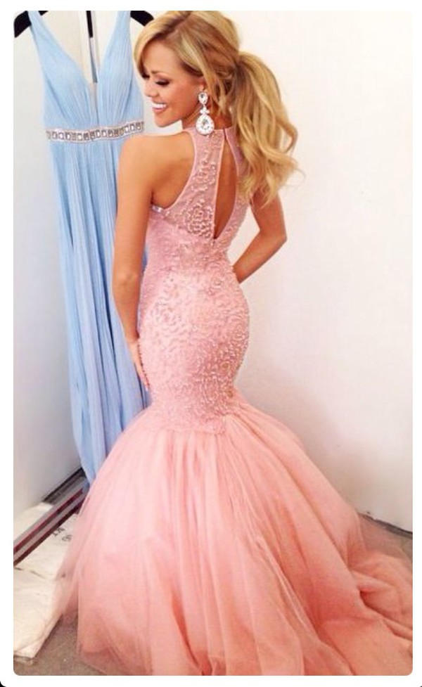 Blonde In A Pink Dress And