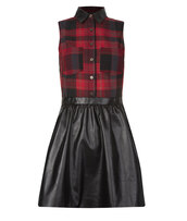 dress,red,black,checkered,leather