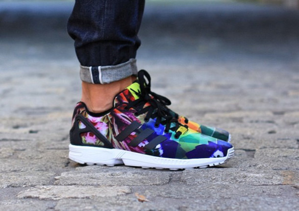 shoes color pattern flowers adidas basket zx flux 8a766874df