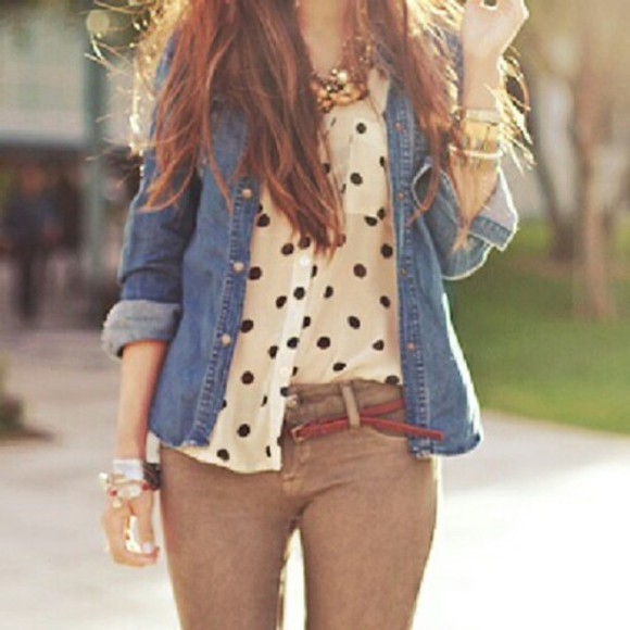 shirt pants tumblr t-shirt blouse polka dots jacket